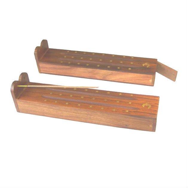 Porte-encens boite en bois